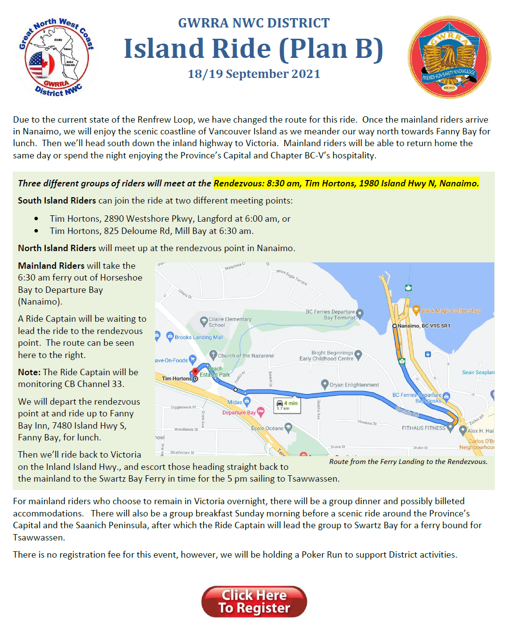 Vancouver Island Ride - Sept 18/19, 2021